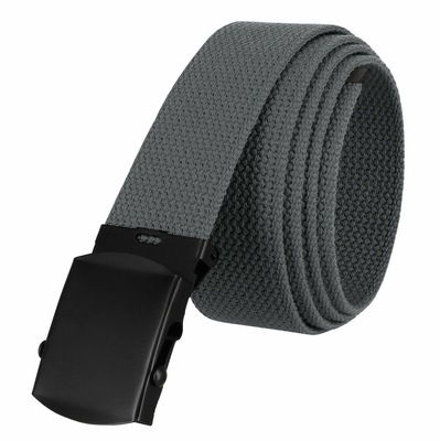 "5810 Military Belt Canvas, Black Finish Buckle Web Belt - One Size fits all - 1-1/2"" Wide - GRAY"