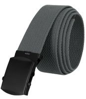 """5810 Military Belt Canvas, Black Finish Buckle Web Belt - One Size fits all - 1-1/2"""" Wide - GRAY"""