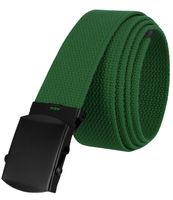 """5810 Military Belt Canvas, Black Finish Buckle Web Belt - One Size fits all - 1-1/2"""" Wide - GREEN"""
