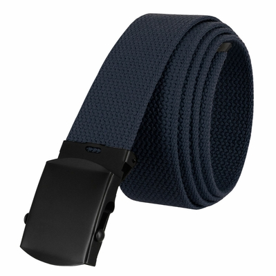"5810 Military Belt Canvas, Black Finish Buckle Web Belt - One Size fits all - 1-1/2"" Wide - NAVY"