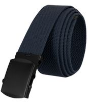 """5810 Military Belt Canvas, Black Finish Buckle Web Belt - One Size fits all - 1-1/2"""" Wide - NAVY"""