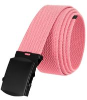 """5810 Military Belt Canvas, Black Finish Buckle Web Belt - One Size fits all - 1-1/2"""" Wide - PINK"""