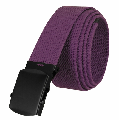 "5810  Military Belt Canvas, Black Finish Buckle Web Belt - One Size fits all - 1-1/2"" Wide - PURPLE"