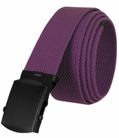 """5810  Military Belt Canvas, Black Finish Buckle Web Belt - One Size fits all - 1-1/2"""" Wide - PURPLE"""