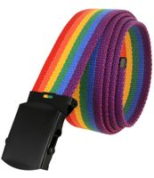 """5810 Military Belt Canvas, Black Finish Buckle Web Belt - One Size fits all - 1-1/2"""" Wide - RAINBOW"""