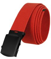 """5810 Military Belt Canvas, Black Finish Buckle Web Belt - One Size fits all - 1-1/2"""" Wide - RED"""