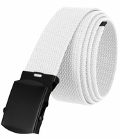 """5810 Military Belt Canvas, Black Finish Buckle Web Belt - One Size fits all - 1-1/2"""" Wide - WHITE"""