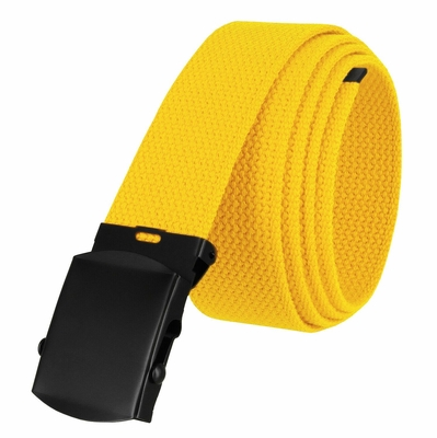 "5810 Military Belt Canvas, Black Finish Buckle Web Belt - One Size fits all - 1-1/2"" Wide - YELLOW"