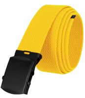 """5810 Military Belt Canvas, Black Finish Buckle Web Belt - One Size fits all - 1-1/2"""" Wide - YELLOW"""