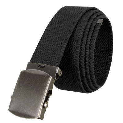 """5811 Military Belt Canvas, Antique Finish Buckle Web Belt - One Size fits all - 1-1/2"""" Wide - BLACK"""