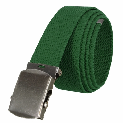 """5811 Military Belt Canvas, Antique Finish Buckle Web Belt - One Size fits all - 1-1/2"""" Wide - GREEN"""