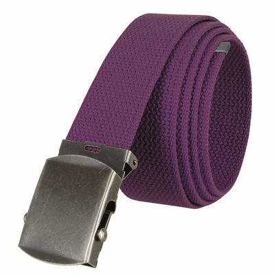 """5811 Military Belt Canvas, Antique Finish Buckle Web Belt - One Size fits all - 1-1/2"""" Wide - PURPLE"""