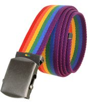 """5811 Military Belt Canvas, Antique Finish Buckle Web Belt - One Size fits all - 1-1/2"""" Wide - RAINBOW"""