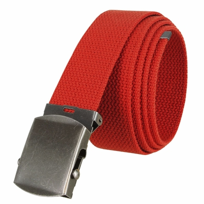 """5811 Military Belt Canvas, Antique Finish Buckle Web Belt - One Size fits all - 1-1/2"""" Wide - RED"""