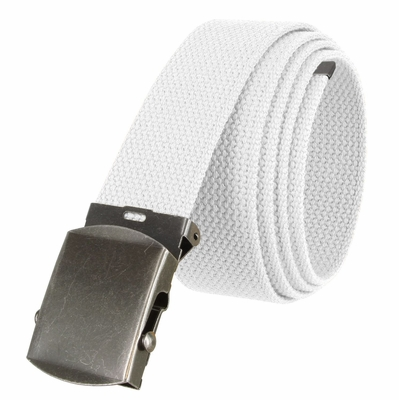 """5811 Military Belt Canvas, Antique Finish Buckle Web Belt - One Size fits all - 1-1/2"""" Wide - WHITE"""