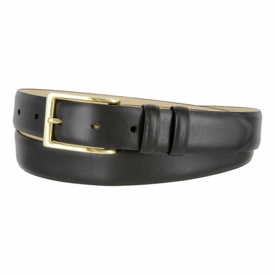 "6162 Men's Gold Brass Buckle Italian Leather Dress Belt 1-1/8"" Wide"