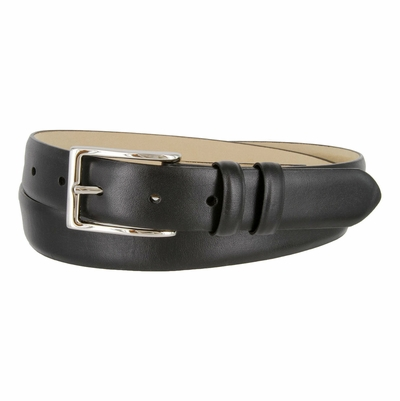 "6162 Silver Buckle Men's Italian Leather Dress Belt 1-1/8"" Wide"
