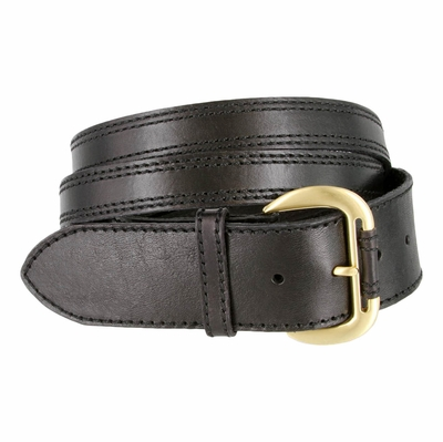 6601 Women's Crossing Straps Leather Belt - Black