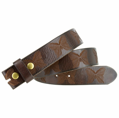 "6670 Butterfly Tooled Casual Full Grain Leather Belt Strap 1-1/2"" Wide"