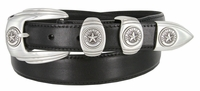 6764 Genuine Italian Calfskin Smooth Leather Belt Silver Star State of Texas - BLACK