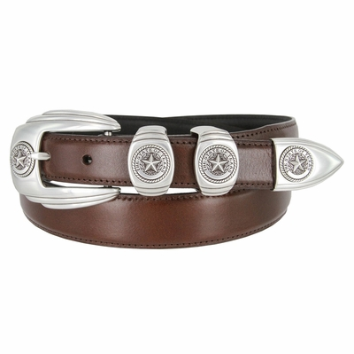 6764 Genuine Italian Calfskin Smooth Leather Belt Silver Star State of Texas - BROWN
