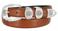 6764 Genuine Italian Calfskin Smooth Leather Belt Silver Star State of Texas - 3 COLORS AVAILABLE