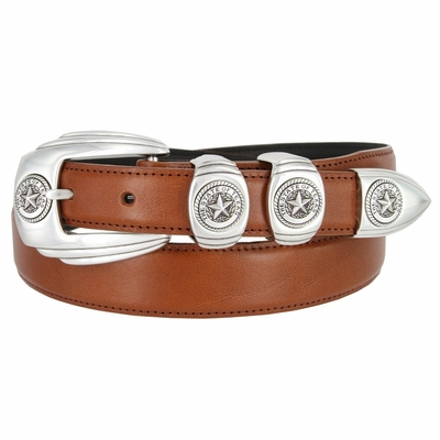 6764 Genuine Italian Calfskin Smooth Leather Belt Silver Star State of Texas - TAN