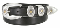 6764G Genuine Italian Calfskin Smooth Leather Belt Gold Star State of Texas - BLACK