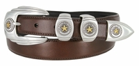6764G Genuine Italian Calfskin Leather Belt Gold Star State of Texas