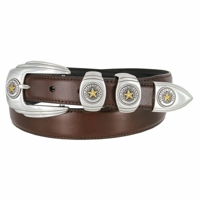 6764G Genuine Italian Calfskin Smooth Leather Belt Gold Star State of Texas - BROWN
