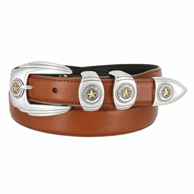 6764G Genuine Italian Calfskin Smooth Leather Belt Gold Star State of Texas - 3 COLORS AVAILABLE