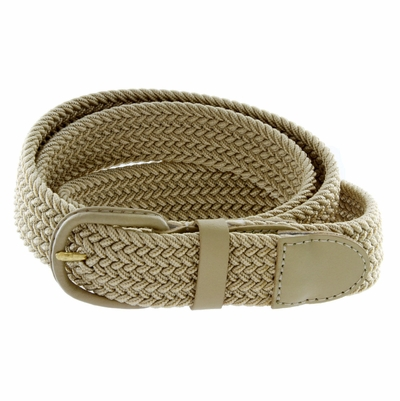 """7001 Leather Covered Buckle Woven Elastic Stretch Belt 1-1/4"""" Wide - Beige"""
