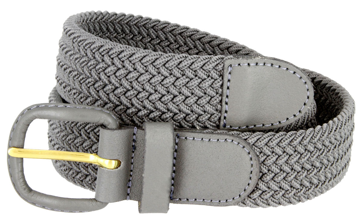 """1-1//4/"""" Wide Women/'s Leather Covered Buckle Woven Elastic Stretch Belt"""