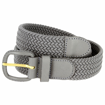 "7001 Leather Covered Buckle Woven Elastic Stretch Belt 1-1/4"" Wide - Gray"