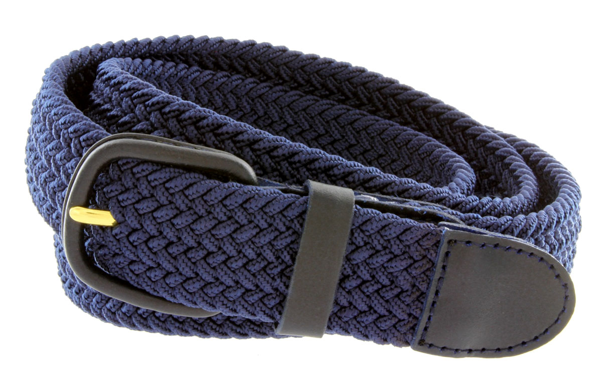 Womens NAVY Fabric Leather Elastic Woven Stretch Belt 1-3//8 Wide 2XL