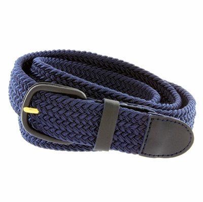 """7001 Leather Covered Buckle Woven Elastic Stretch Belt 1-1/4"""" Wide - Navy"""