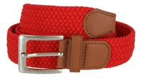 "7001G Fabric Elastic Woven Stretch Belt 1-3/8"" Wide - Red"