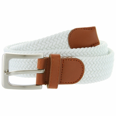 "7001G Fabric Elastic Woven Stretch Belt 1-3/8"" Wide - White"