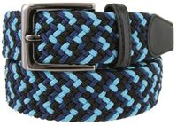 "7001G Fabric Leather Elastic Woven Stretch Belt 1-3/8"" Wide - Black/Blue/Navy"