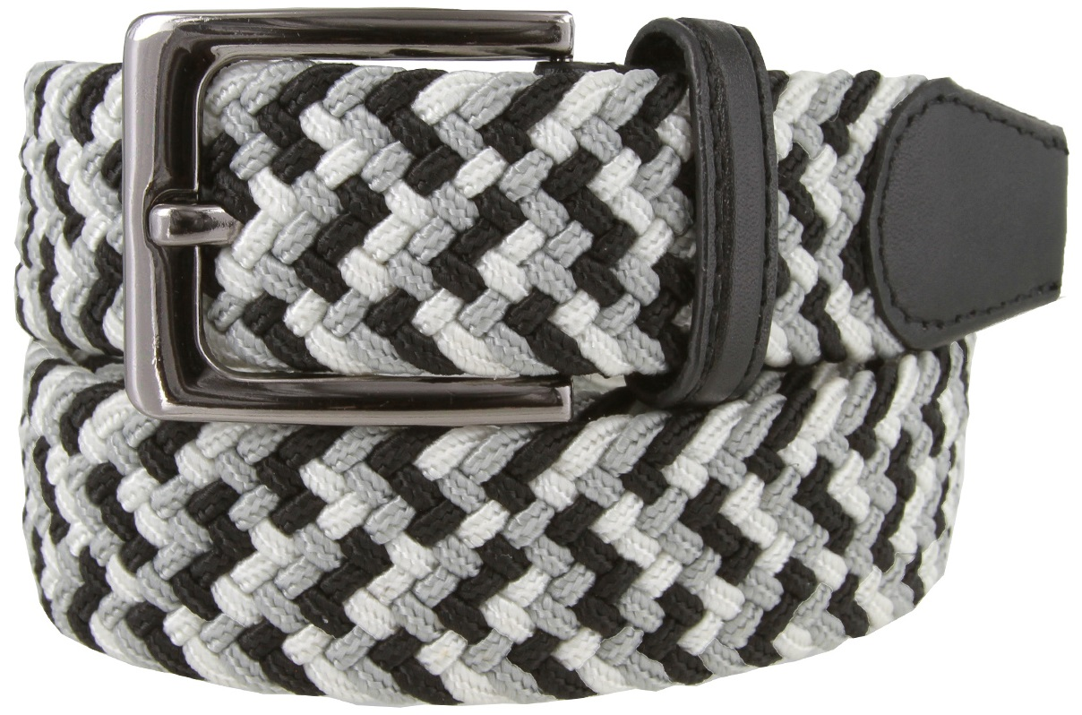 """White Fabric Leather Elastic Woven Stretch Belt 1-3//8/"""" Wide"""