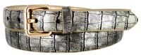 7075 Women's Skinny Matte Alligator Skin Embossed Leather Casual Dress Belt - Gold