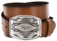 "8142 Southwestern Buckle Full Grain Leather Belt - 1 1/2"" wide"