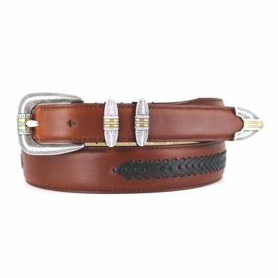 8202 Southwestern Arrow Lacing Belt - SADDLE TAN/BROWN