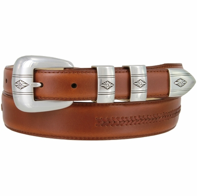 8203 Silver Floral Diamond Smooth Lacing Genuine Leather Belt