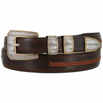 8204 Smooth Lacing Genuine Leather Belt with Silver and Gold Cross-weaved Buckle Set