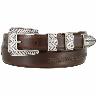 8205 Smooth Lacing Genuine Leather Belt with Silver Cross-weaved Buckle Set