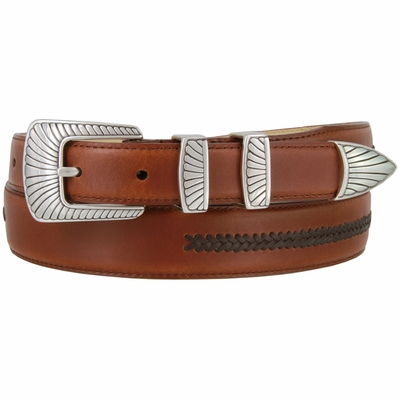 8207 Silver Clam Design Smooth Lacing Genuine Leather Belt