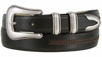 8208 Silver Rope Edge Smooth Lacing Genuine Leather Belt - FINAL SALE
