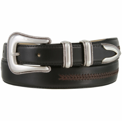 8208 Silver Rope Edge Smooth Lacing Genuine Leather Belt
