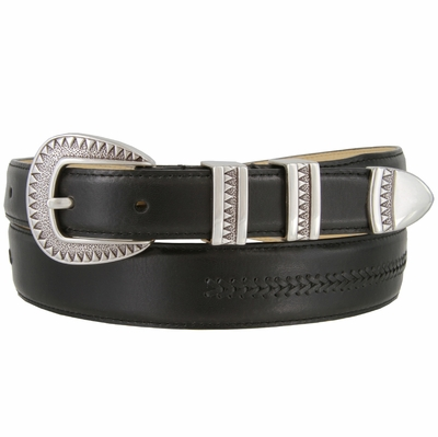8209 Silver Aztec Design Smooth Lacing Genuine Leather Belt